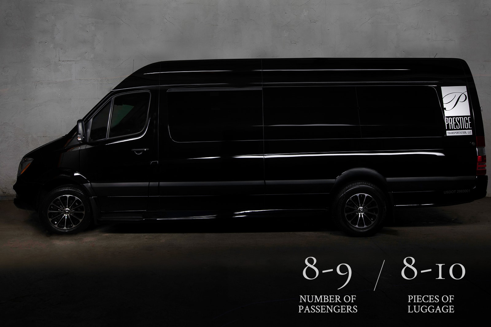 Exterior of the Mercedes Executive Jet Sprinter, the perfect limo rental for corporate transportation.