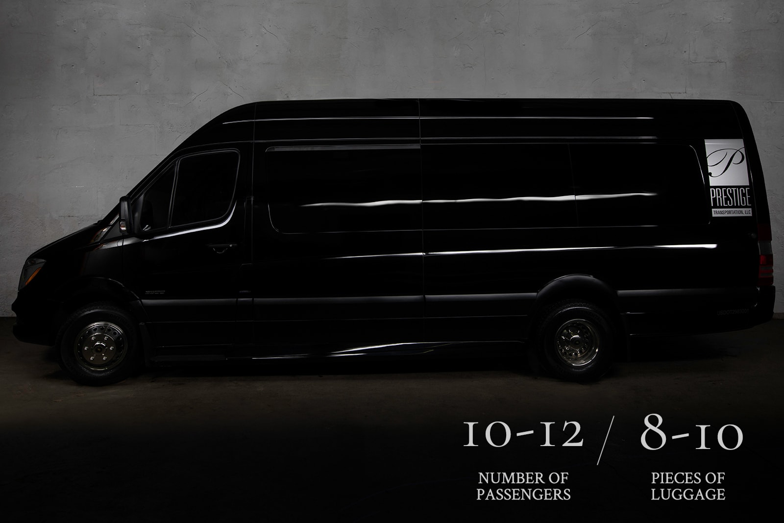 The exterior of a black Mercedes Sprinter Limo which can hold 10-12 people and is a perfect limo rental for weddings.