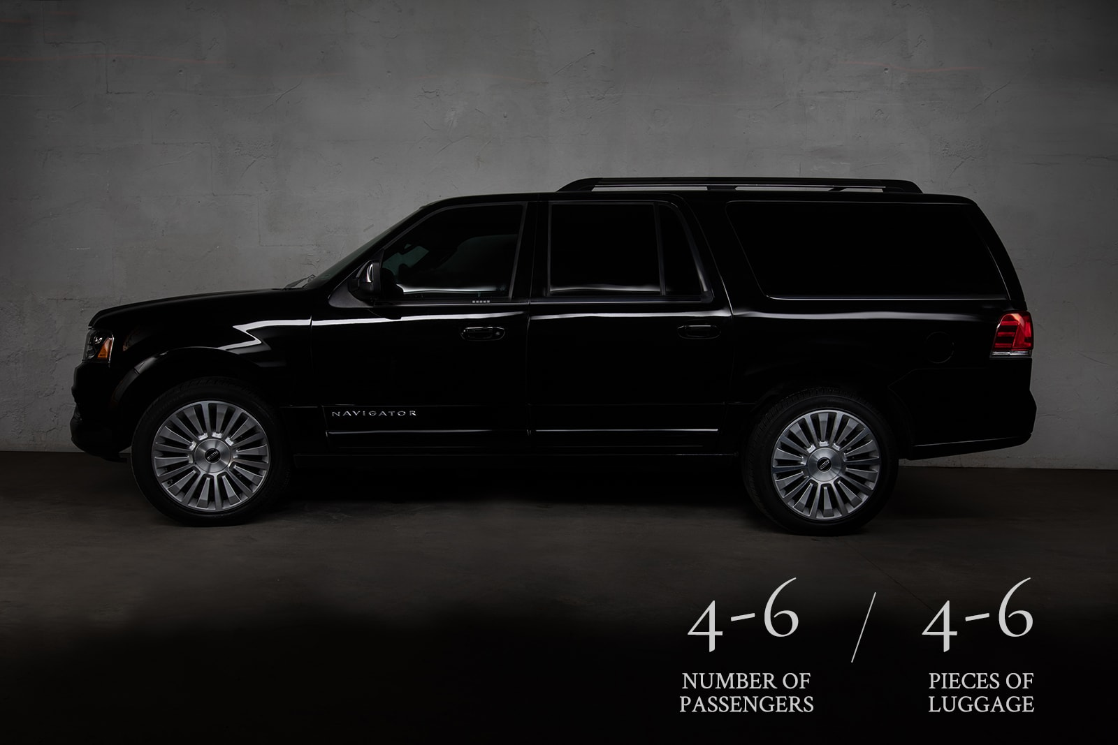 Exterior of the Lincoln Navigator, one fo the luxury vehicles in Prestige's limo rental fleet.