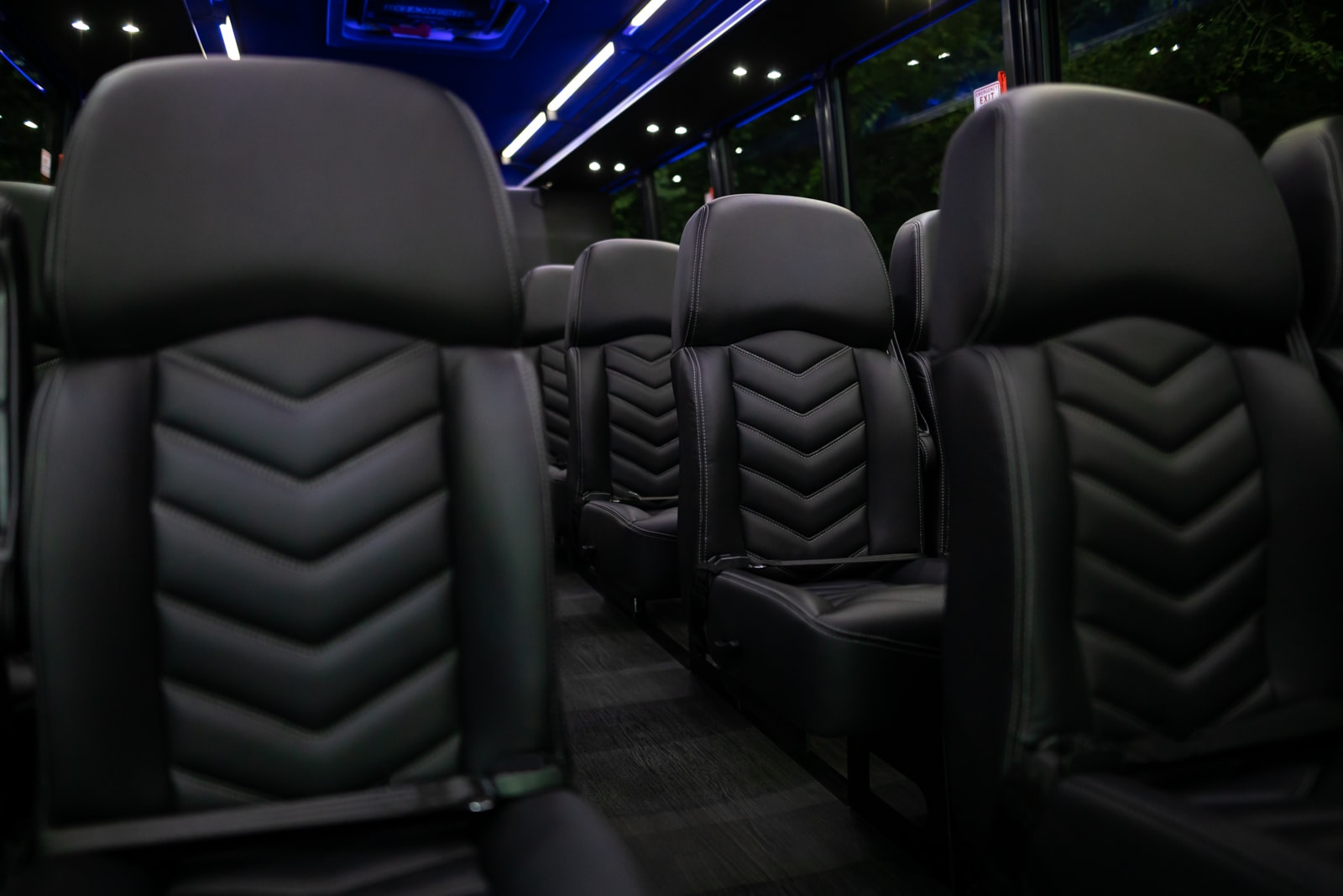 Interior of a luxurious coach making it the perfect limo rental for large events.